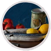 Still Life With Mackerels Lemons And Tomatoes Round Beach Towel