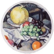 Still Life With Melons And Grapes Round Beach Towel by Samuel John Peploe