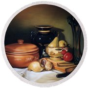 Still Life With Pears Round Beach Towel