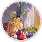 Still Life With Pineapple Round Beach Towel