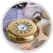 Still Life With Pocket Watch, Key Round Beach Towel by Photo Researchers