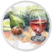 Still Life With Red Wine Glass Round Beach Towel
