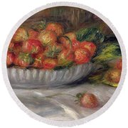 Still Life With Strawberries Round Beach Towel