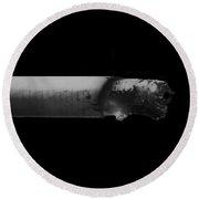 Still Smoking In Black And White Round Beach Towel