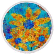Stimuli Floral S01 Round Beach Towel by Variance Collections