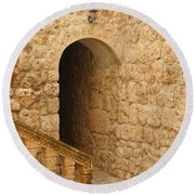 Stone Arch And Stairway Round Beach Towel