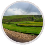 Stone Barn In A Fold Of The Landscape Round Beach Towel