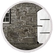 Stone Barn Window Cathedral Door Round Beach Towel