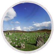Stone Circles On A Landscape, Beaghmore Round Beach Towel