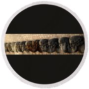 Stone Faces Round Beach Towel
