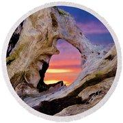 Stone Lagoon Sunset Redux Round Beach Towel