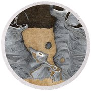 Stone Men 28 - Celebration  Round Beach Towel by Variance Collections