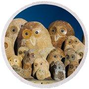 Stone Owls Round Beach Towel