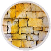 Stone Wall Round Beach Towel by Carlos Caetano