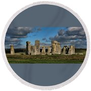 Stonehenge Round Beach Towel by Heather Applegate