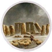 Stonehenge In Winter  Round Beach Towel by Walter Williams