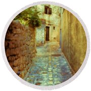 Stones And Walls Round Beach Towel