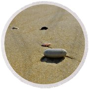 Stones In The Sand Round Beach Towel