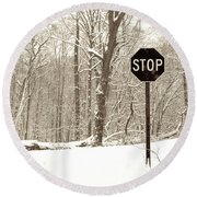 Stop Snowing Round Beach Towel
