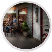 Storefront - Frenchtown Nj - At A Quaint Bistro  Round Beach Towel by Mike Savad
