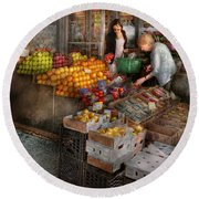 Storefront - Hoboken Nj - Picking Out Fresh Fruit Round Beach Towel by Mike Savad