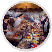 Storefront - The Open Air Tea And Spice Market  Round Beach Towel