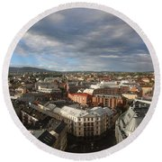 Storm Approaching Oslo Round Beach Towel