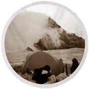 Storm Camp Round Beach Towel