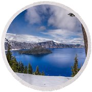 Storm Clearing At Crater Lake Round Beach Towel