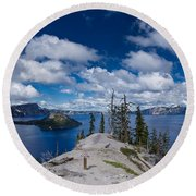 Storm Clearing From Discovery Point Round Beach Towel