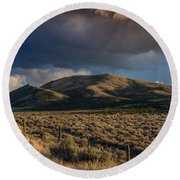 Storm Clearing Over Great Basin Round Beach Towel