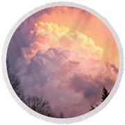 Storm Cloud Moving In On West Michigan Round Beach Towel
