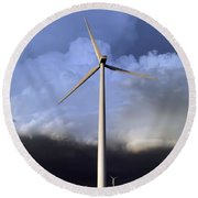 Storm Clouds And Wind Turbine Round Beach Towel