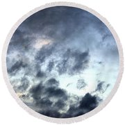 Storm Clouds At Dawn Round Beach Towel