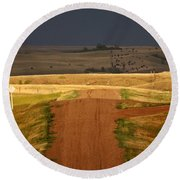 Storm Clouds In Saskatchewan Round Beach Towel by Mark Duffy