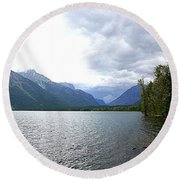 Storm Clouds Over Lake Mcdonald Round Beach Towel