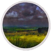 Storm Clouds Over Meadow Round Beach Towel