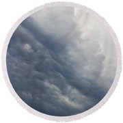 Storm Clouds Rising Round Beach Towel
