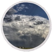 Storm Clouds Thunderhead Round Beach Towel by Mark Duffy