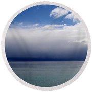 Storm On The Horizon Round Beach Towel