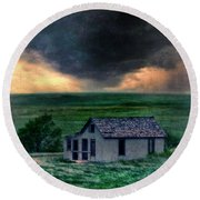 Storm Over Abandoned House Round Beach Towel by Jill Battaglia