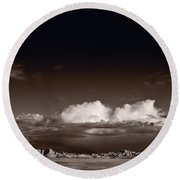 Storm Over Badlands Round Beach Towel