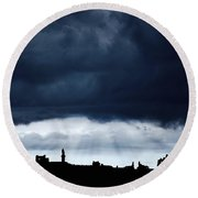 Storm Over City, Tyne And Wear, England Round Beach Towel