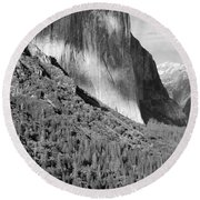 Storm Over El Capitan Round Beach Towel