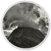 Storm Over Grinnell Round Beach Towel