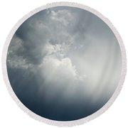 Storm Over Jamestown Round Beach Towel