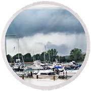 Storm Over Lake Erie Round Beach Towel