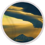 Storm Over Shasta Round Beach Towel