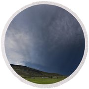 Storm Over Table Rock Round Beach Towel