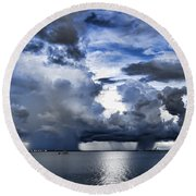 Storm Over The Ocean Round Beach Towel